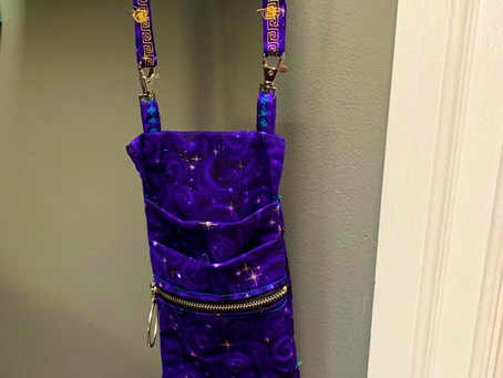 DIY small purple cell phone bag