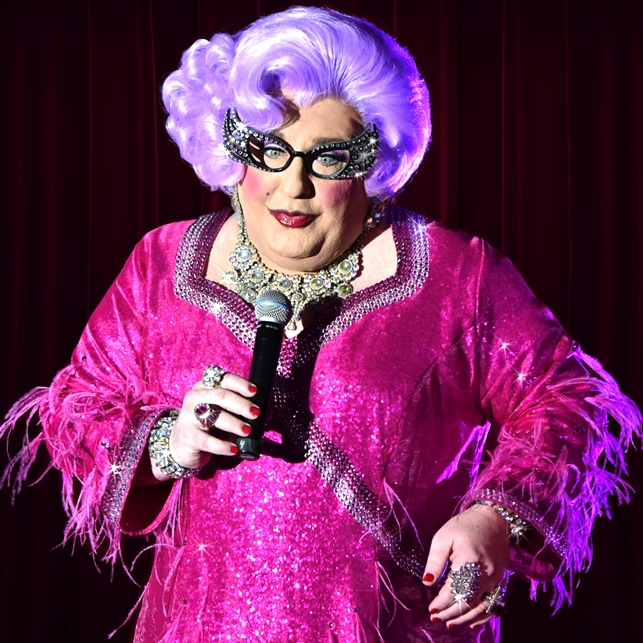Caption - Michael Walters as Dame Edna