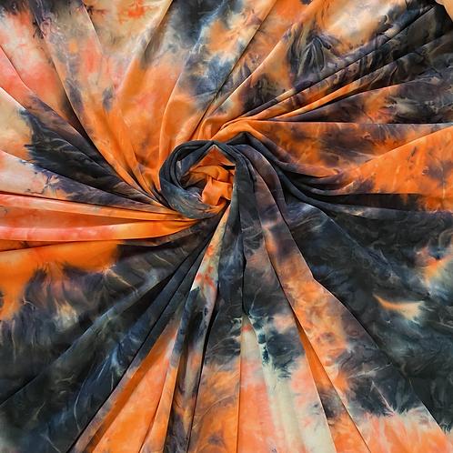 SADIE Orange/Black TIE DYE in BRUSHED ITY KNIT