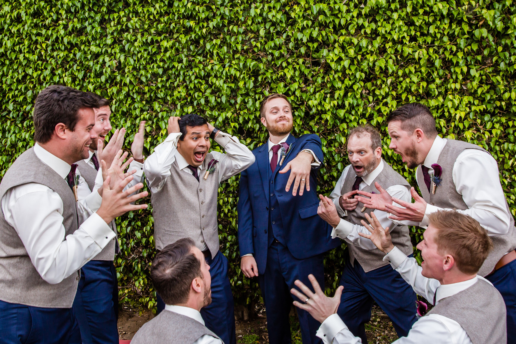 Best of San Diego Wedding Photography, Groom showing off wedding ring to the guys, funny wedding photography, San Diego Photography , Bahia