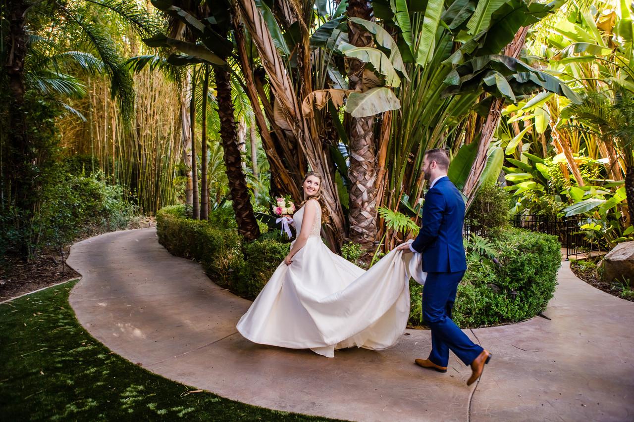 Wedding Photographer San Diego, Berlynn Photography, San Diego Wedding Photography, Forest Bride and Groom holding train