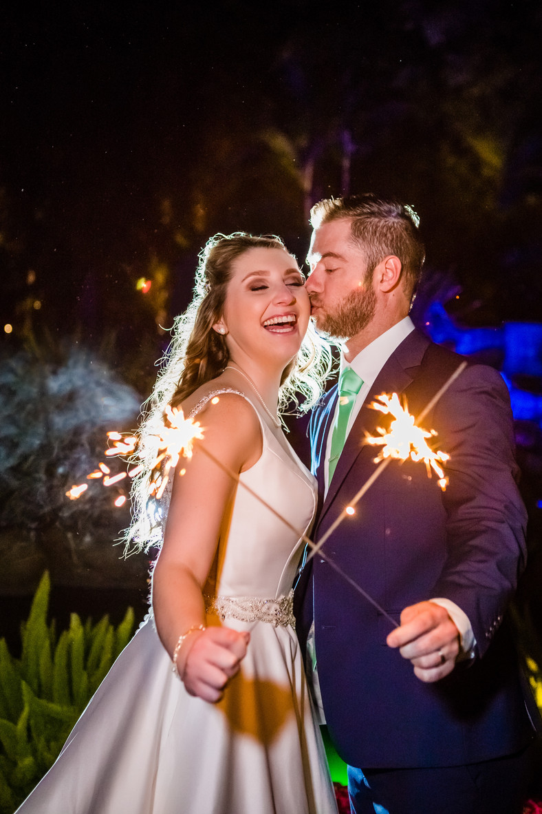 Best of 2018 wedding photography, Berlynn Photography, San Diego Wedding Photography, Bride and Groom sparkler portrait at the grand tradition