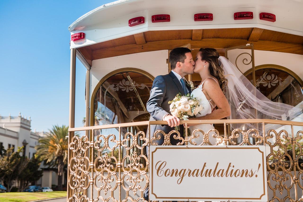 Best of 2018 wedding photography, Berlynn Photography, San Diego Wedding Photography, bride and groom kiss, romantic trolley  portrait