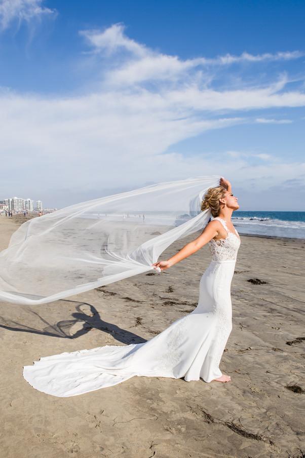 San Diego Wedding Photographer, Berlynn Photography, San Diego Wedding Photography, bride flowy veil portrait