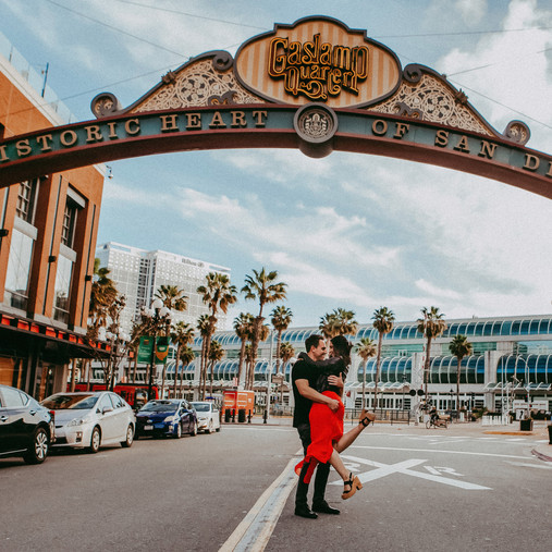 Downtown San Diego Engagement Session | Sarah & Mark | Seaport Village