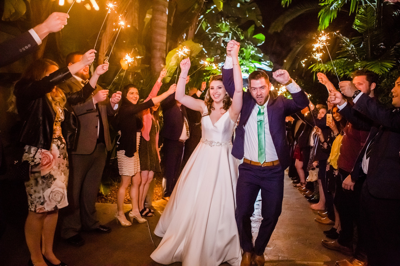 Best of 2018 Wedding Photography, Berlynn Photography, San Diego Wedding Photography, bride and groom sparkler portrait at grand tradition