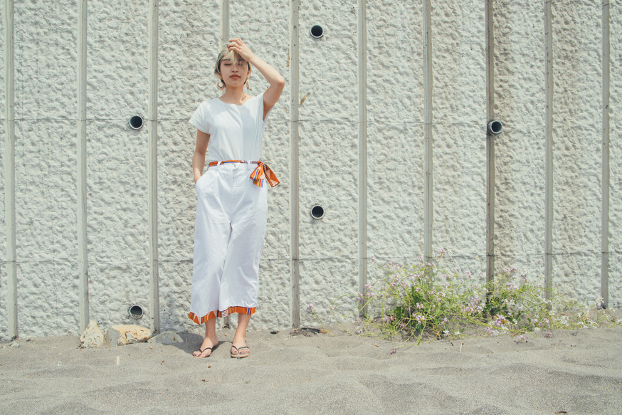 wide pant | white with belt