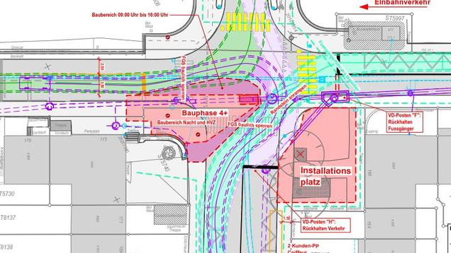 Bauphasenplan mit Schleppkurven