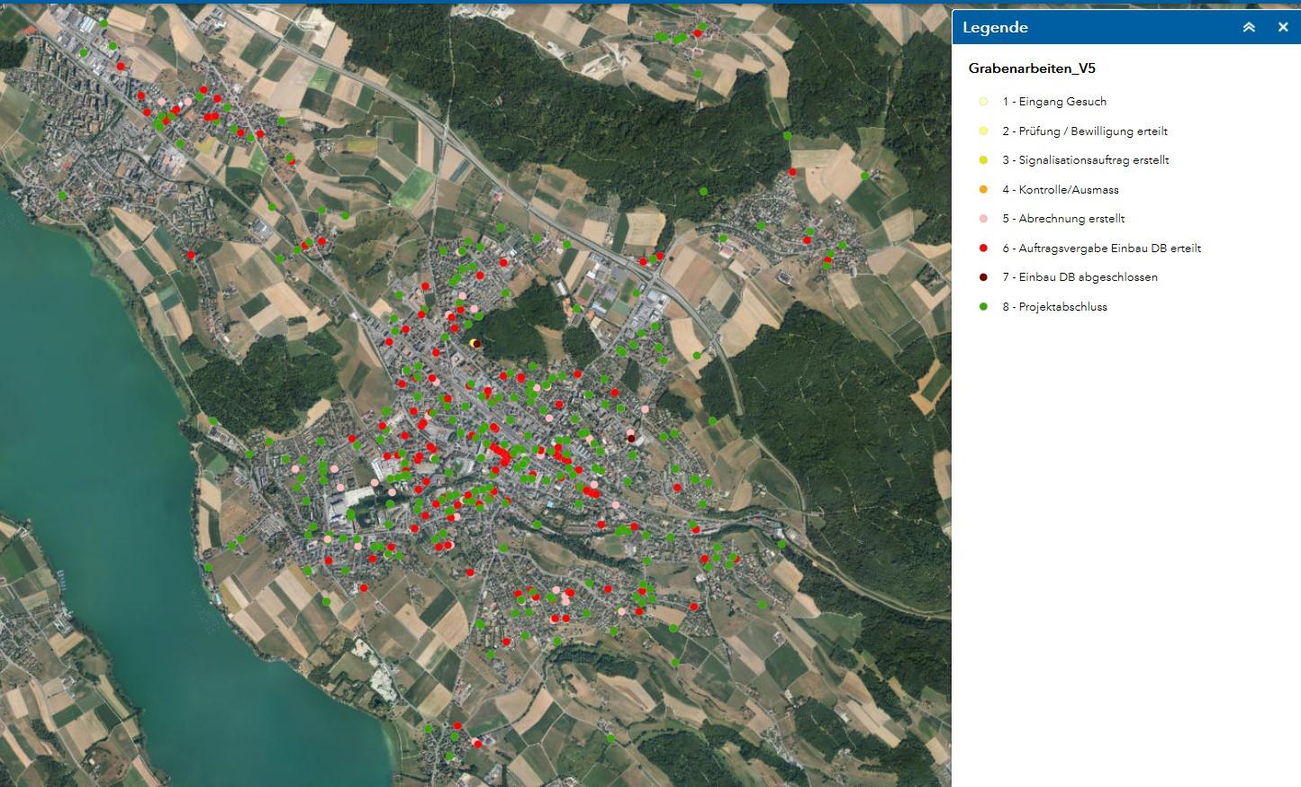 Webmap Grabenarbeiten Stadt Uster, Fotohintergrund