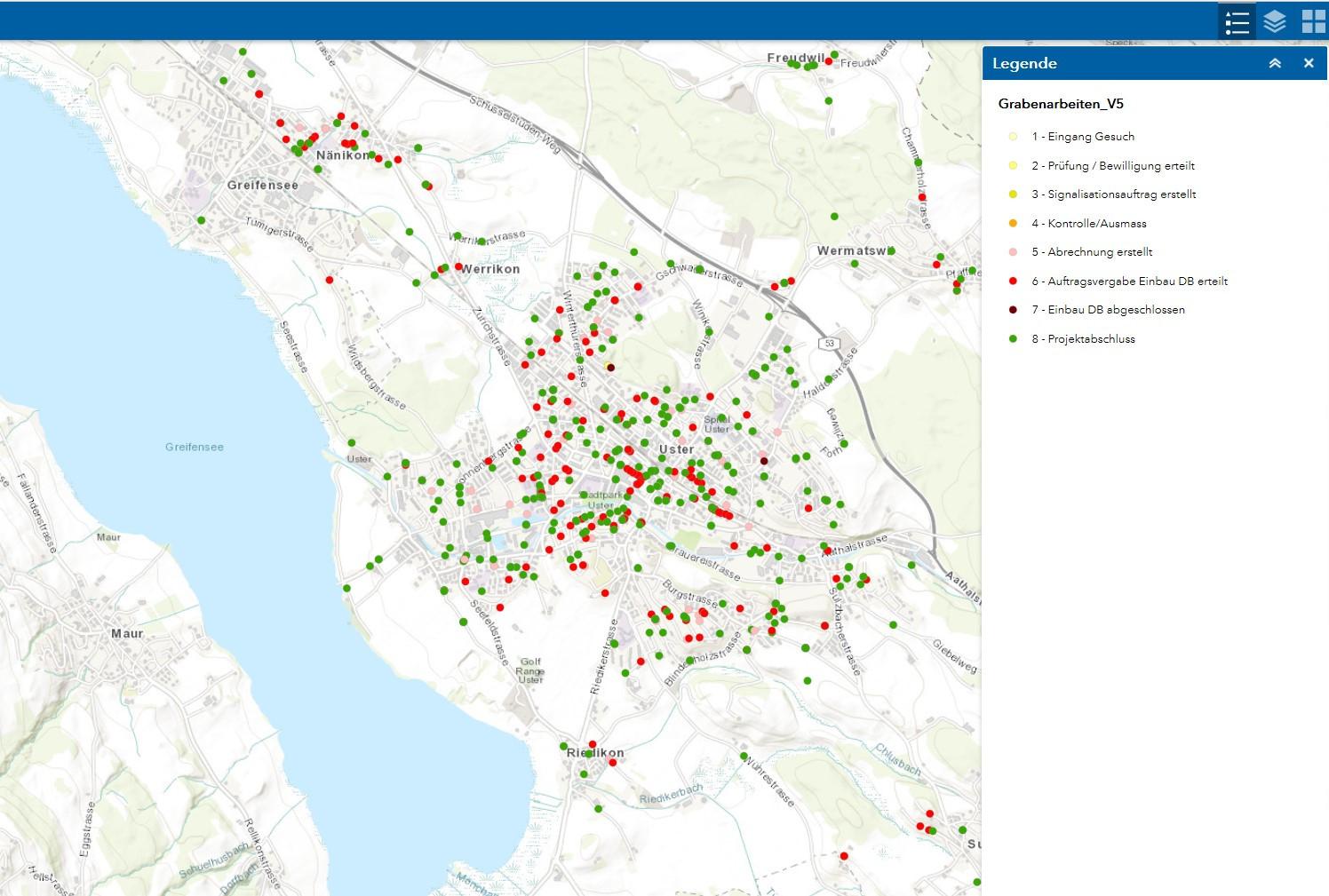 Webmap Grabenarbeiten Stadt Uster, Kartenhintergrund