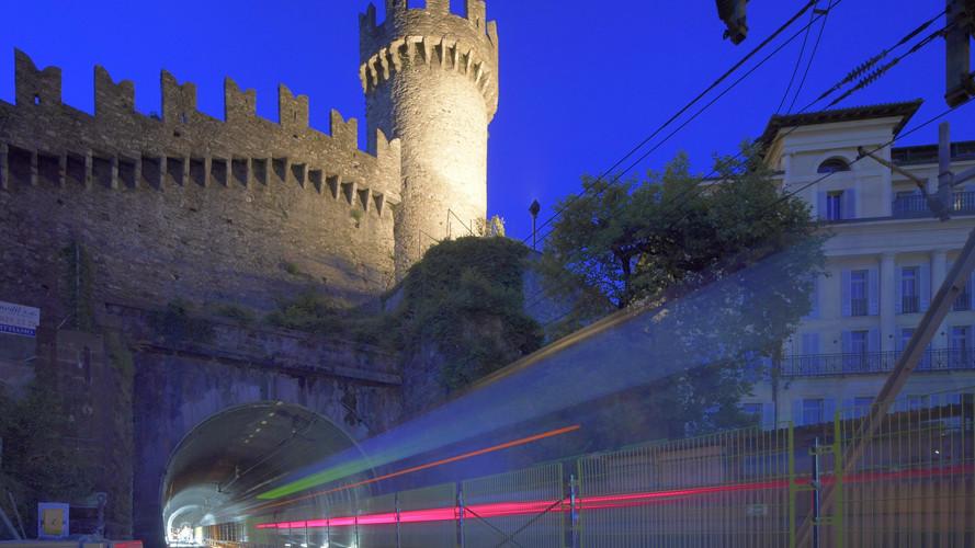 Der Svitto-Tunnel verläuft unter einer der drei Burgen von Bellinzona