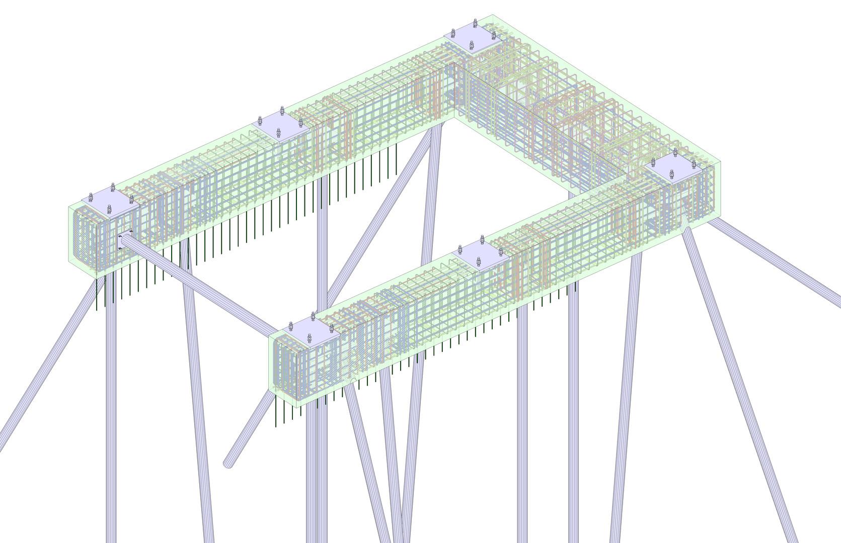 Ingenieurmodell Bewehrung Fundamente Passerelle, ZEB Winterthur, PU Nord und Veloquerung
