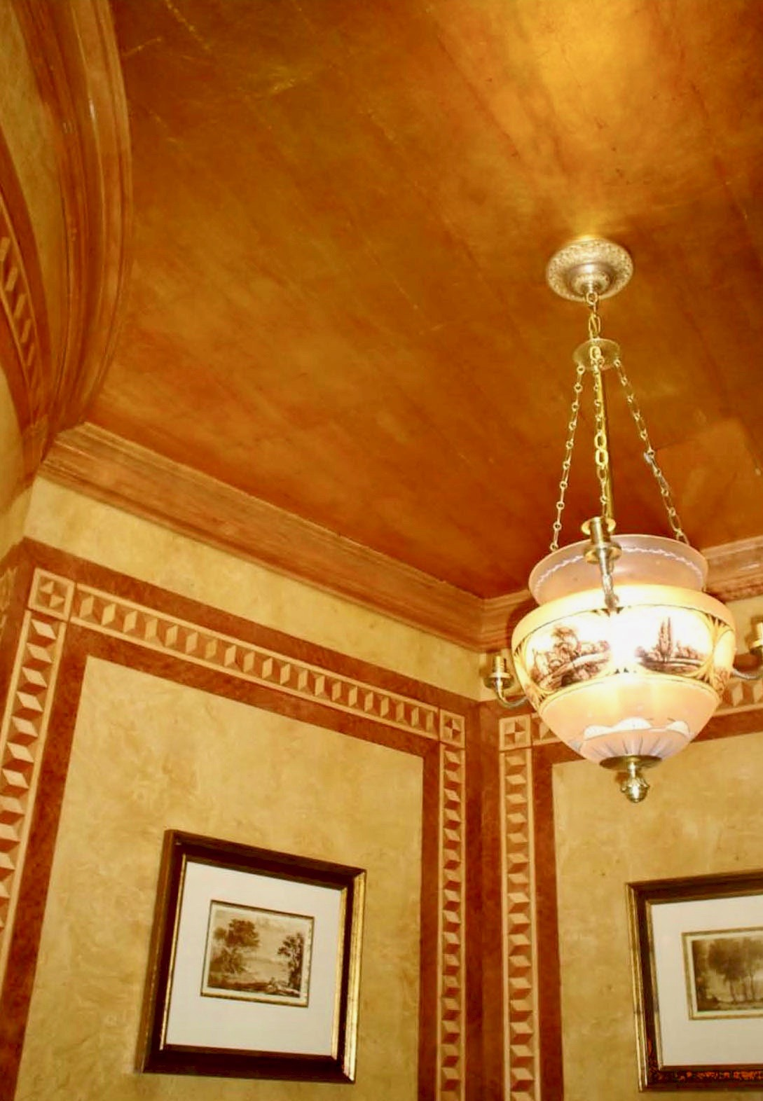 Gold Leaf Ceiling with Antique