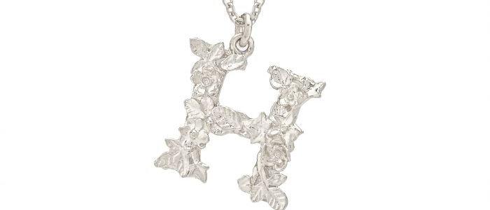 Floral Letter H Necklace Silver