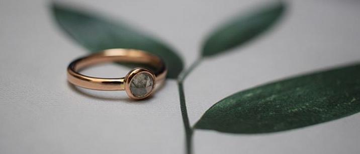 Grey Diamond Rose Gold Ring
