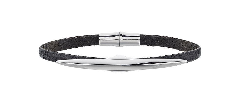 Men's Silver Single Arc Black Leather Bracelet