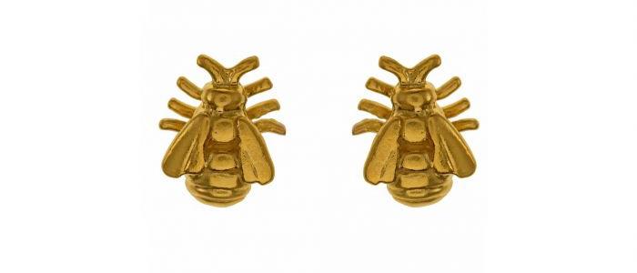 Small Honey Bee Studs Gold