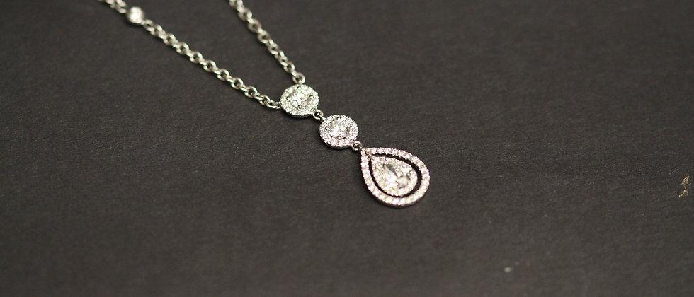 18ct White Gold Diamond Drop Pendant