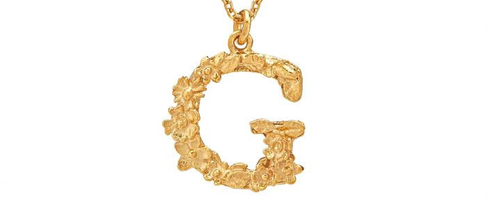 Floral Letter G Necklace Gold