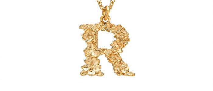 Floral Letter R Necklace Gold