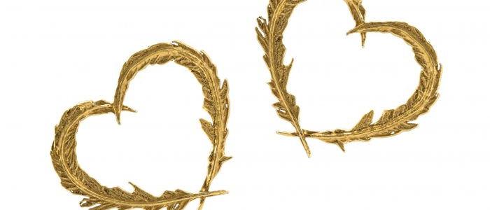 Delicate Feather Heart Stud Earrings Gold