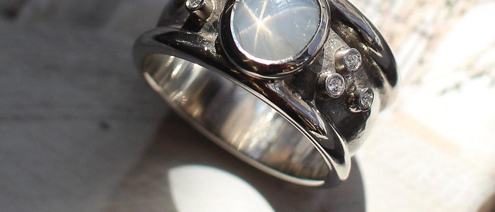 Palladium Star Sapphire & Diamond Dress Ring