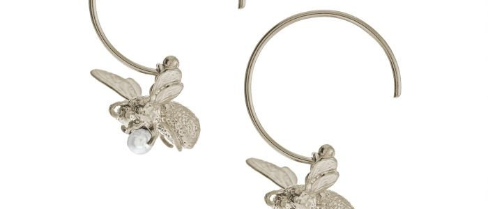 Flying Bee Pearl Hoop Earrings Silver