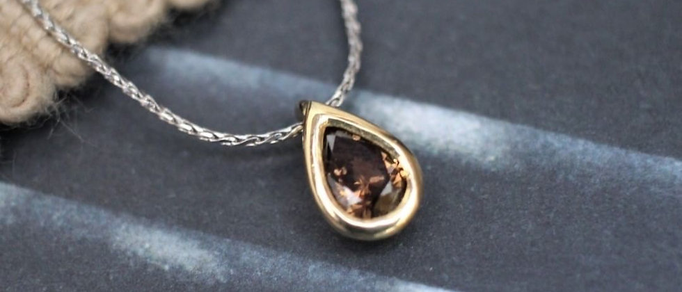 18ct Yellow Gold Whisky Brown Diamond Pendant