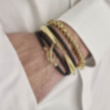 Making a statement with these effortless gents Shaune Leane bangles and bracelets in 18ct yellow gold vermeil and leather