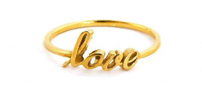 Handwritten Love Ring Gold