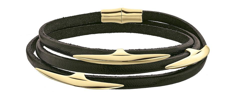 Men's Yellow Gold Vermeil Arc Multi Leather Wrap Bracelet