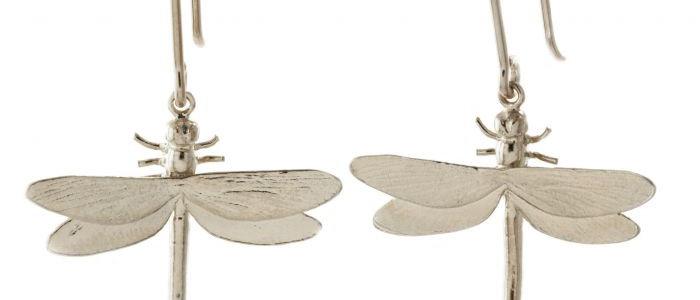 Dragonfly Hook Earrings Silver