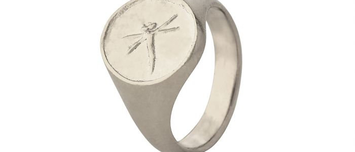 Dragonfly Fossil Signet Ring Silver