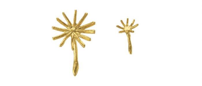 Assymetric Dandelion Fluff Earrings Gold
