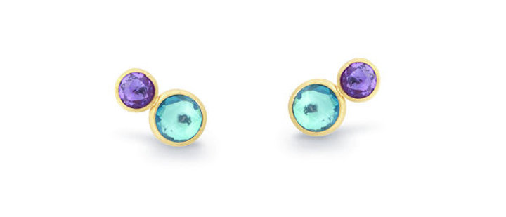 Jaipur Amethyst & Blue Topaz Stud Earrings
