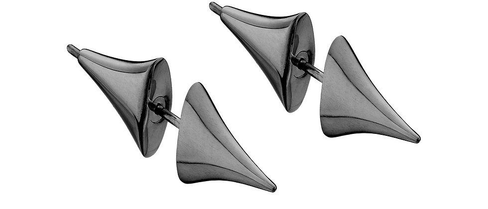 Silver Black Rhodium Rose Thorn Bar Earrings