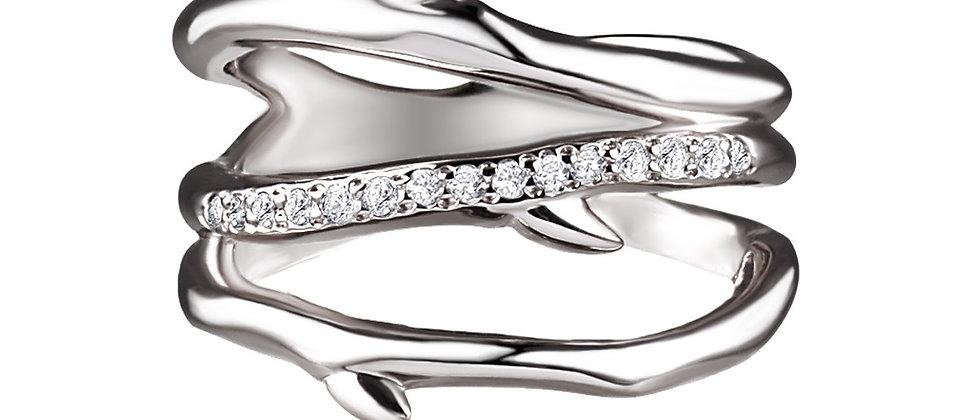 Silver Cherry Blossom 3 Branch Diamond Ring