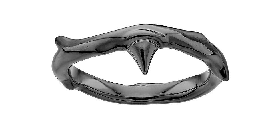 Silver Black Rhodium Rose Thorn Band Ring