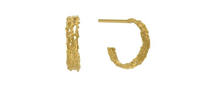 Nest Structure Mini Hoop Earrings Gold