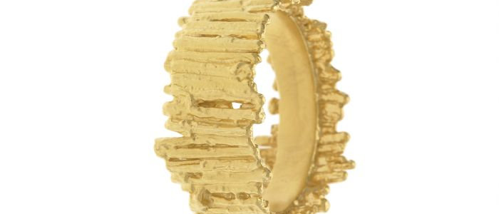 Tree Bark Wide Ring Gold