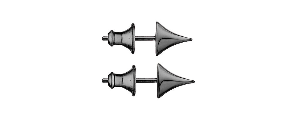Silver Black Rhodium Rose Thorn Large Stud Earrings