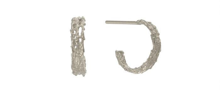 Nest Structure Mini Hoop Earrings Silver