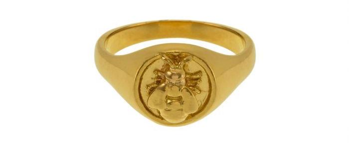 Honey Bee Signet Ring Gold
