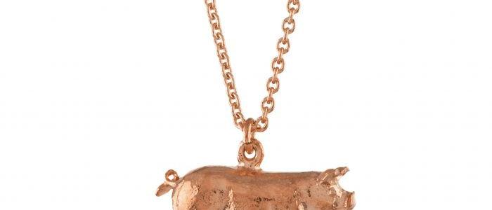 Suffolk Pig Necklace Rose Gold