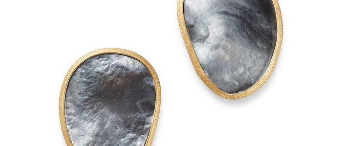 Lunaria Black Mother of Pearl Stud Earrings