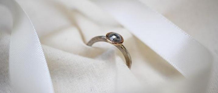 Rose Cut Grey Diamond Ring