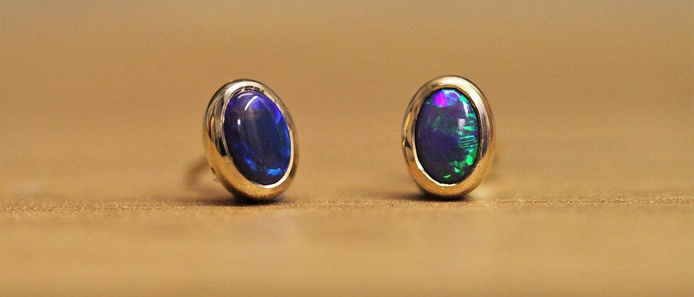 22ct Yellow Gold Black Opal Stud Earrings