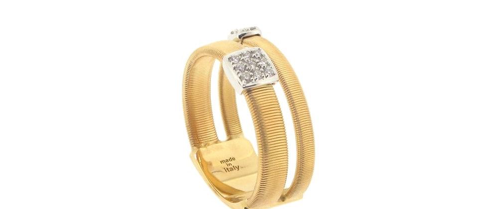 Masai Yellow Gold Diamond 2-Strand Ring 0.13ct