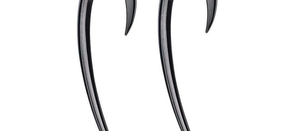 Silver Black Rhodium Large Hook Earrings