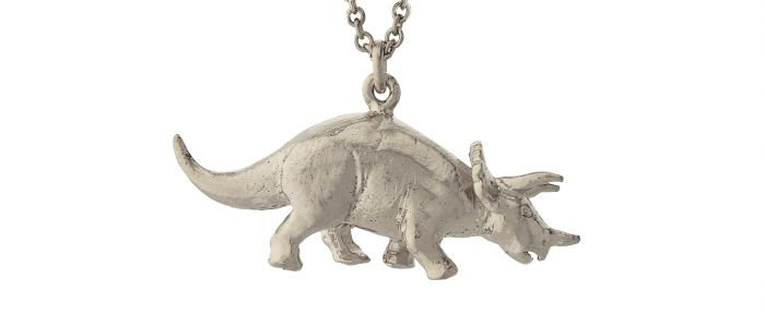 Triceratops Necklace Silver